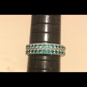 NWOT 2 Emerald and Sterling Silver Stackable Rings